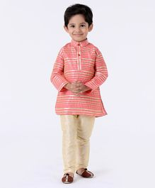 Ridokidz Striped Full Sleeves Kurta & Pyjama - Light Pink
