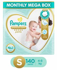 Pampers Premium Care Pant Style Diapers Small Size Monthly Pack - 140 Pieces