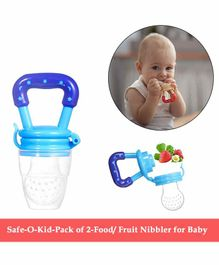 Safe-O-Kid Medium Size Silicone Fruit and Food Nibbler Pack of 2 - Blue