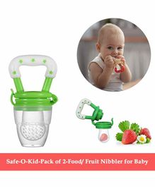 Safe-O-Kid Large Size Silicone Fruit and Food Nibbler Pack of 2 - Green