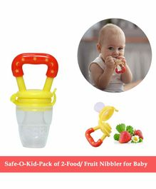 Safe-O-Kid Large Size Silicone Fruit and Food Nibbler Pack of 2  - Yellow Red