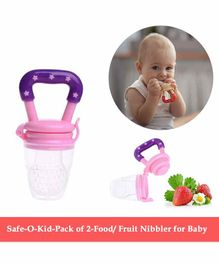 Safe-O-Kid Large Size Silicone Fruit and Food Nibbler  Pack of 2 - Pink