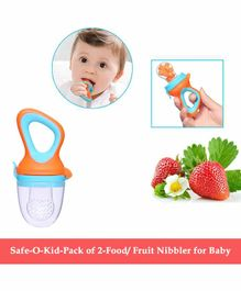 Safe-O-Kid Small Size Silicone Fruit and Food Nibbler Pack of 2 - Green Orange