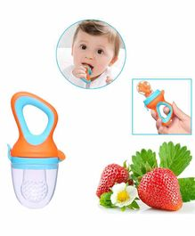 Safe-O-Kid Small Size Silicone Fruit and Food Nibbler - Blue Orange