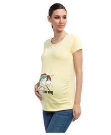 LC Waikiki Half Sleeves Baby Is On The Way Printed Maternity Tee - Yellow