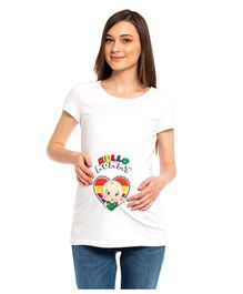 LC Waikiki Half Sleeves Hello Mommy Printed Maternity Tee - White