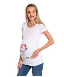 LC Waikiki Half Sleeves Baby Is On The Way Printed Maternity Tee - White