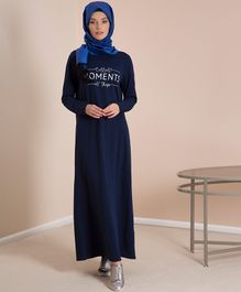 LC Waikiki Collect Moments Not Things Printed Full Sleeves Maternity Long Dress - Blue