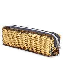 Rectangle Pencil Pouch with Sequins - Golden