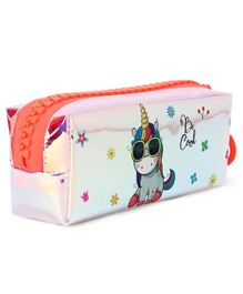 Unicorn Printed Pencil Pouch - Orange