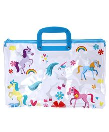 Rectangle Folder Bag with Handle Unicorn Print - Blue