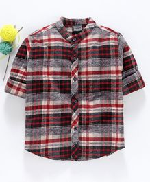 Rikidoos Checkered Full Sleeves Shirt - Maroon