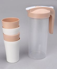 Jug Set With 4 Mugs Brown - 450 ml