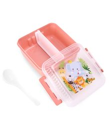 Dual Compartment Lunch Box With Spoon Monkey Print - Peach