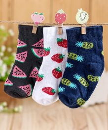 Cute Walk by Babyhug Antibacterial Ankle Length Socks Fruits Print Set of 3 - Blue White Black
