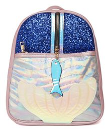 Kids On Board Glittered & Fish Applique Backpack - Pink