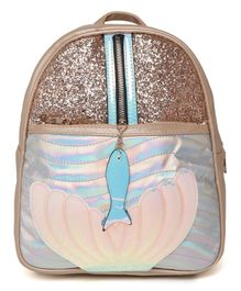 Kids On Board Shiny Fish Applique Backpack - Beige