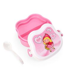 3 Compartment Lunch Box With Spoon - Pink