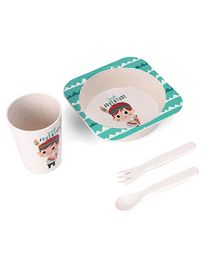 Wheat Straw Fiber Cutlery Set Boy Print - Green