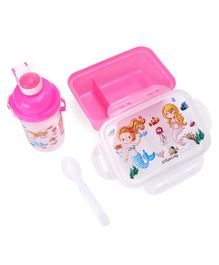 Lunch Box & Bottle Set Mermaid Print Pink - 800 ml