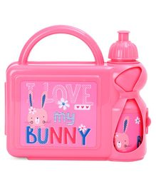 Lunch Box with Water Bottle Bunny Print - Pink