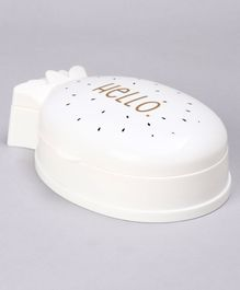 Strawberry Shape Soap Case Hello Print - White