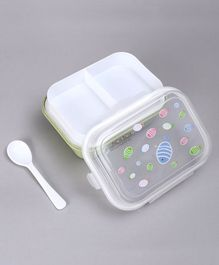 3 Compartment Lunch Box with Spoon Fish Print - Green
