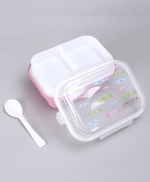 3 Compartment Lunch Box with Spoon Fish Print - Pink