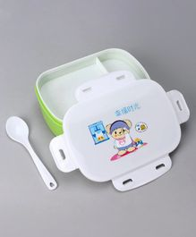 3 Compartment Lunch Box With Spoon - Green