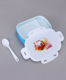 Lunch Box with Spoon Girl Print - Blue