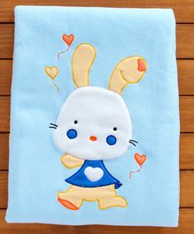 Sherin Blanket With Bunny Embroidered - Blue