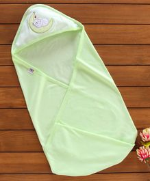 Zero Hooded Swaddle Wrapper Teddy Print - Green