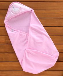 Zero Hooded Swaddle Wrapper Teddy Print - Pink