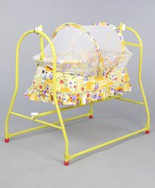 Mothertouch Italio Cradle Teddy & Floral Print - Yellow