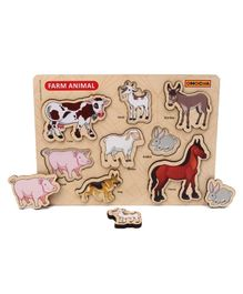 Omocha Chunky Farm Animals Wooden Board Puzzle Multicolor - 8 Pieces