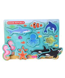 Omocha Chunky Ocean Wooden Board Puzzle Multicolor - 8 Pieces