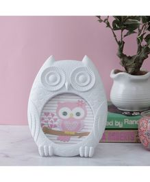 Quirky Monkey Owl Shaped Photo Frame - White