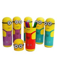 Ziory Minions Shaped Pencil Box With Sketch Pens Return Gift  - Pack of 6