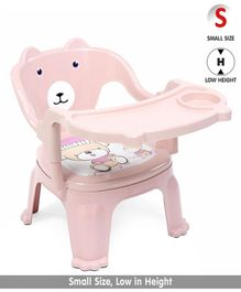 Chair With Feeding Tray Bear Print - Pink