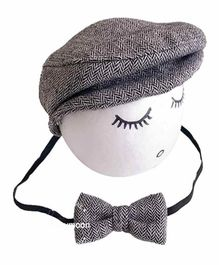 Babymoon French Cap & Bow for Baby Photography Set of 2 - Grey