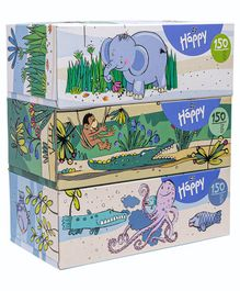 Bella Baby Happy Paper Tissues Pack of  3 - 150 Pieces Each