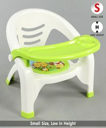 Plastic Chair with Feeding Tray - Green White