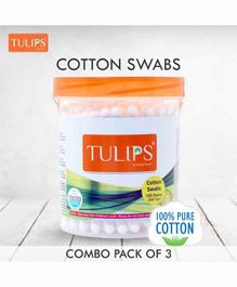 Tulips Cotton Buds Jar Pack of 3 - 100 Stems Each