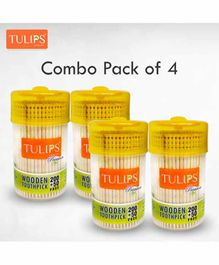 Tulips Toothpicks with Wooden Jar Pack Of 4 - 250 Pieces Each