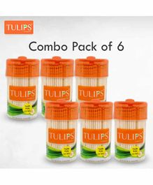 Tulips Toothpicks with Wooden Jar Pack of 6 - 250 Pieces Each