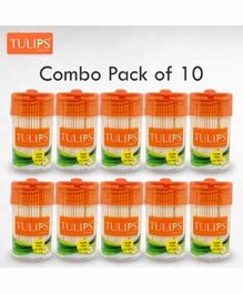 Tulips Toothpicks with Wooden Jar Pack Of 10 - 250 Pieces Each
