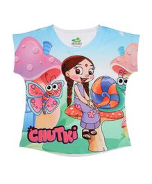 Chhota Bheem By Crossroads Short Sleeves Chutki With Butterfly Print Top - Multi Colour