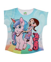 Chhota Bheem By Crossroads Short Sleeves With A Unicorn Print Top - Blue