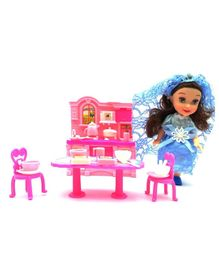 Emob Pretend Play Kitchen Set with Princess Doll (Colour May Vary)
