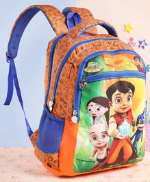 Chhota Bheem & Friends Printed School Bag Orange Blue - 16 Inches